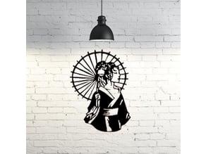 Geisha wall sculpture 2D