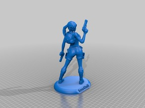 Lara Croft from back with stand