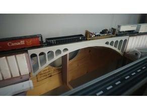 HO scale double arch train bridge