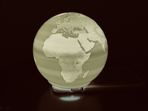 Spherical Lithophane - World Map 12cm remix