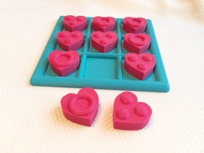 Tactile Tic Tac Toe - Hearts