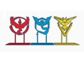 Pokemon GO Instinct, Mystic, & Valor Table Stands, Cupcake Picks and Logos