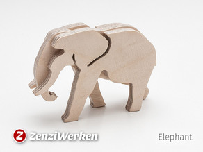 Elephant 3-layered-animal cnc/laser