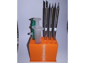T12 soldering iron tips stand with flux syringe place