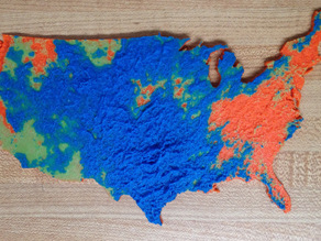Three color elevation map of May 2015 rainfall in the US