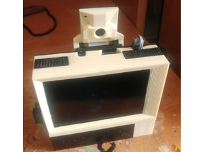 """Raspberry Pi model 1, 2, 3, 3+ B """"retro computer"""" case with camera pod 3.5"""" touchscreen LCD and 18650 basket and room for associated citcuitry"""