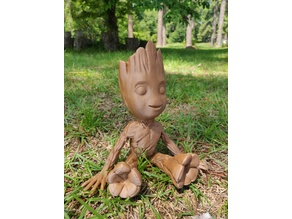 Sitting, Smiling, Baby Groot  (Smoothed, solidified, reinforced)