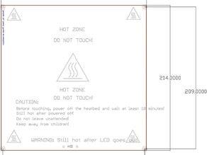Prusa's PCB Heatbead Mk1 DXF, PDF and JPG drawing