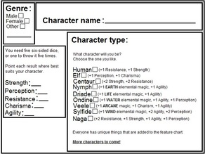 Magissanima character card, rol game for kids.