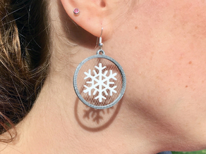 Floating Snowflake Earrings