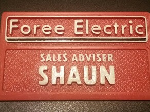 Shaun's nametag from Shaun of the Dead