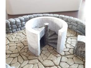 WDhex spiral staircase for irregular stone floor
