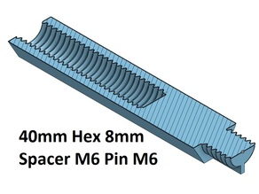 Hex 8 Spacer, Standoff 10, 20, 30, 40, 50, 60, 70, 80, 90, 100 mm; M6 Pin M6