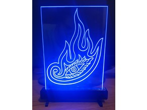 Edge lit acrylic sign with printed base with 12 designs