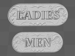Fake LADIES room / MEN's room signs
