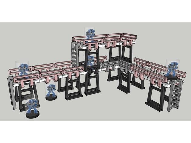 28mm tabletop gaming industrial gantry terrain
