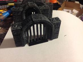 "Stone wall (3"") with arched opening (1.5"") plus doors for RPGs"