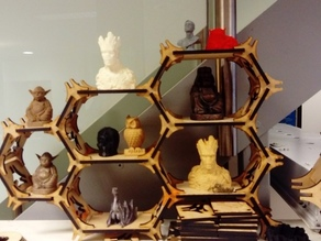 Extendable lasercut hexagonal shelves