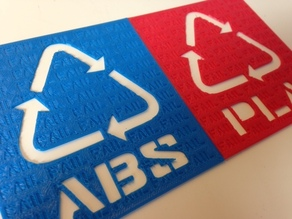 ABS and PLA Recycle Signs