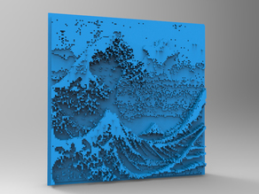 Minecraft 3DPrinting Art Tile - The Great Wave Off Kanagawa -