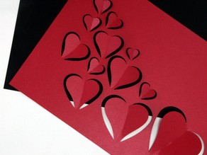 Valentine's Day - flying hearts paper laser cut