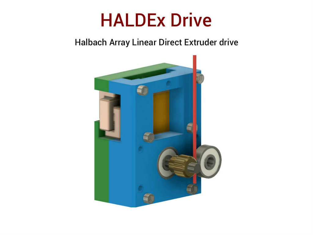 Halbach Array Linear Direct 3D Printer Extruder Drive by