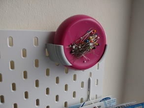 "Ikea SKÅDIS bracket for ""Grabbit"" magnetic pincushion by Blue Feather Products"