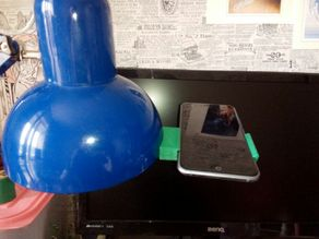 Phone holder for desktop lamp