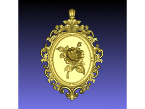 Rose Cameo Pendant & Brooch (plus empty-frame-pendant variation)