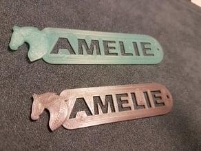 Horse head + name (AMELIE) keychain / Schlüsselanhänger