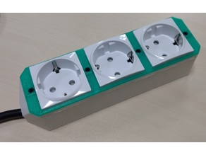 Power strip enclosure for Schneider Electric UNICA schuko outlets