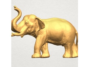 Detailed Elephant With Tusks and Trunk Up