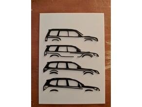 Multicolor Subaru Forester generations print for single extruder printers