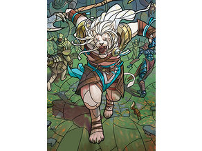 Ajani, the Greathearted - stained glass - litho