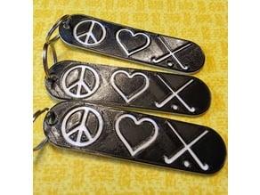 Peace Love Field Hockey bag tag keychain