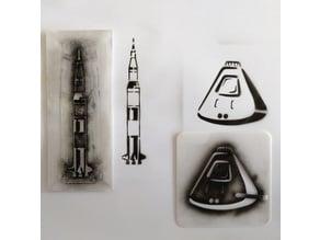 Saturn V rocket stencil (temporary tattoo)