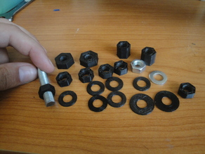 Printable standard M8 Hex nuts and washers