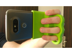 Phone brass-knuckles style horizontal hand mount
