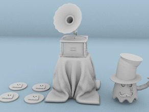 Gramophone whith ghostly mini figure and discs