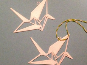 Origami inspired crane ornament