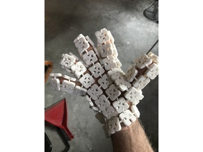3D printed three, or 4, or ? fingered glove with snap together square mesh