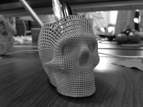 Wireframe Skull Pencil Holder (For The Love of Dog)