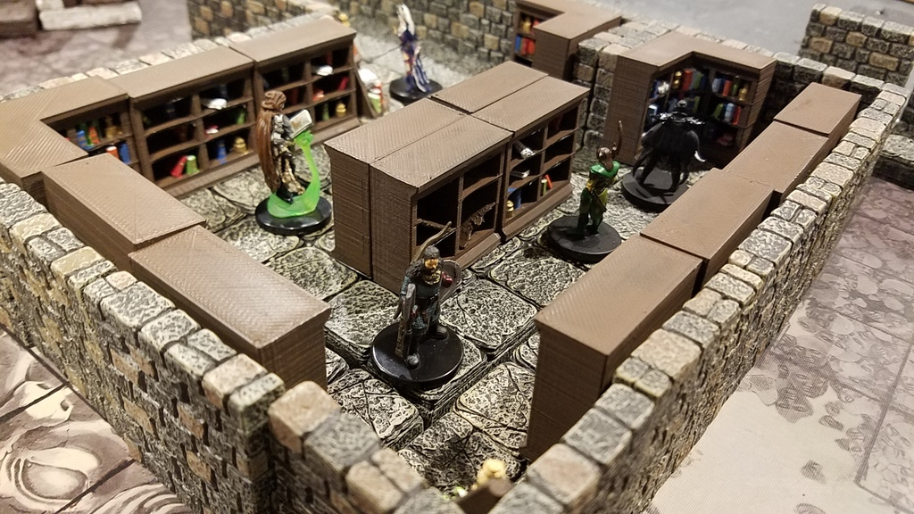 RPG / Dungeon / Terrain - Library bookshelf / bookshelves
