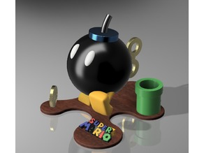 Bob-omb Statue from Super Mario Bros with Pipe and Coin