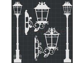 Antique Street Lights 2D Wall Art