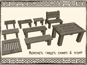 Tables, benches and chairs for Dungeons & Dragons or Warhammer 40k tabletop Miniatures