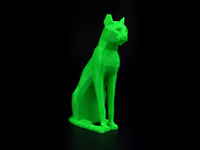 Low Poly Egyptian Cat Sculpture