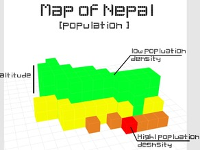 #NEPAL3DRELIEF The geographical and population map of Nepal
