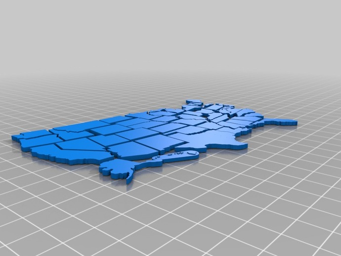 Us State Map Puzzle By Muilenta Thingiverse