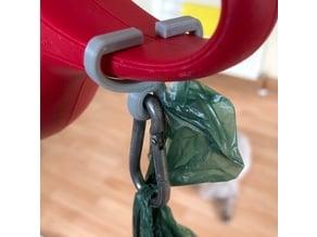 Dog poop bag carrying clip